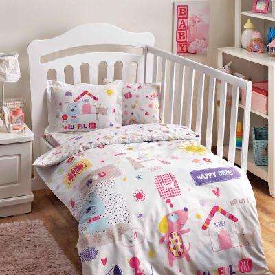 Бебешки спален комплект TAC - Хепи Догс розов