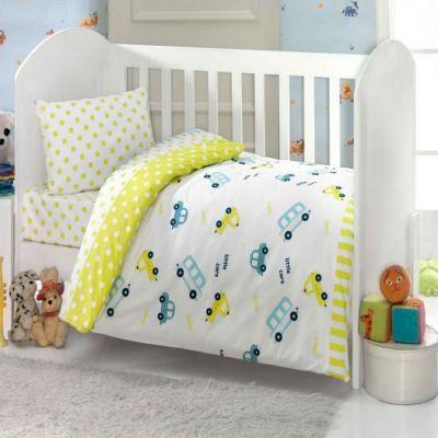 Бебешки спален комплект, Камиончета, жълт