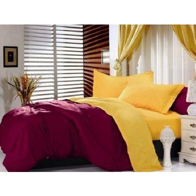 Спален комплект - Бордо/патешко жълто