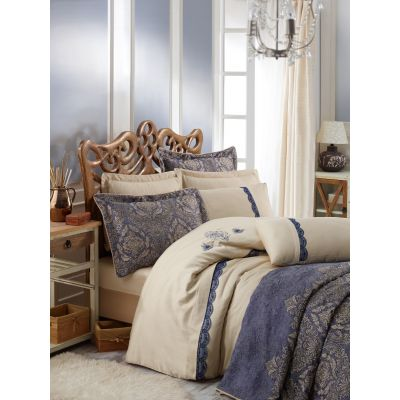 Спален комплект със шалте COTTON BOX - Платиниум Орнела син