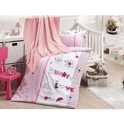 Бебешки спален комплект от бамбук, Love bunny, с одеало