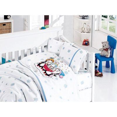 Бебешки спален комплект от бамбук - Пингвини син