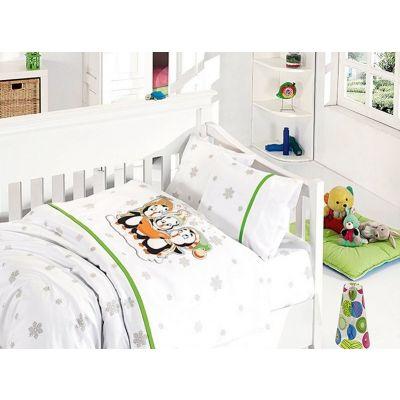Бебешки спален комплект от бамбук - Пингвини зелен