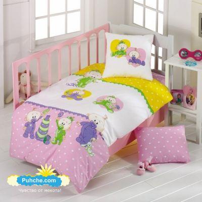 Розов бебешки спален комплект, веселите бебчета
