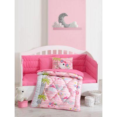 Бебешки спален комплект с олекотена завивка - Севимли Маймунлар
