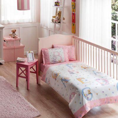 Бебешки спален комплект TAC - Суит Енималс розов