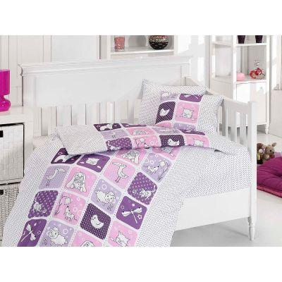 Бебешки спален комплект- Зоопарк лилав