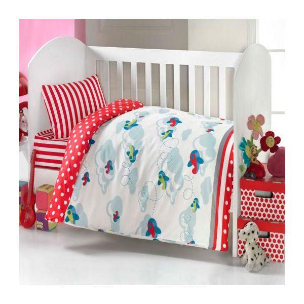 Бебешки спален комплект, Самолетчета,червени