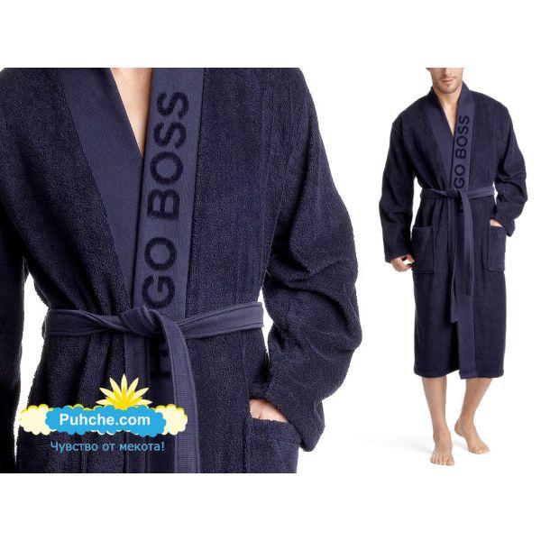 хавлиен халат BOSS кимоно тъмно син