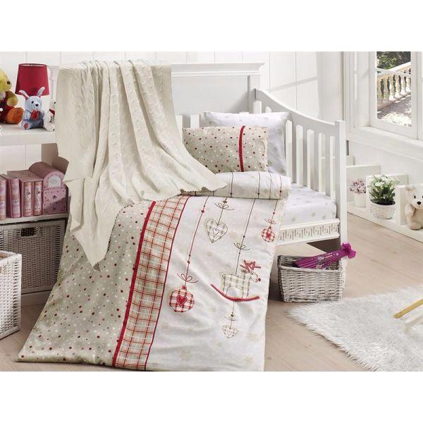 Бебешки спален комплект от бамбук, Palmi Karmizi, с одеало