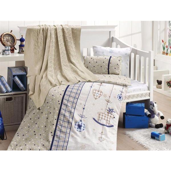 Бебешки спален комплект от бамбук, Palmi lazivert, с одеало