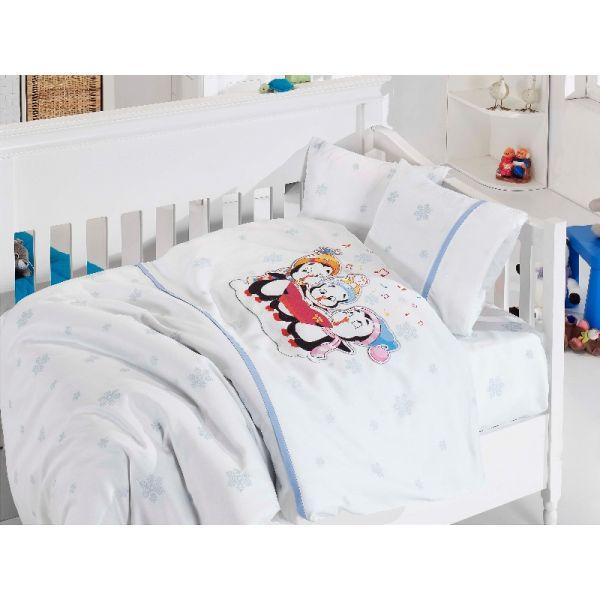 Бебешки спален комплект, Пингвини, син