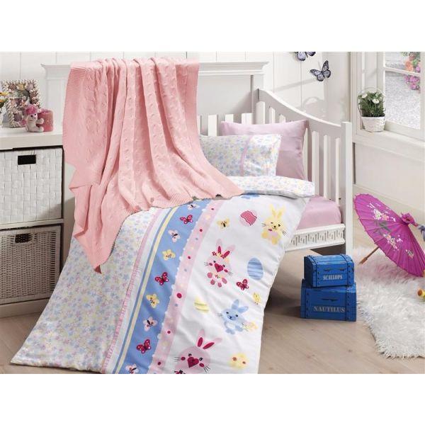 Бебешки спален комплект от бамбук,Sweet toys, розов, с одеало